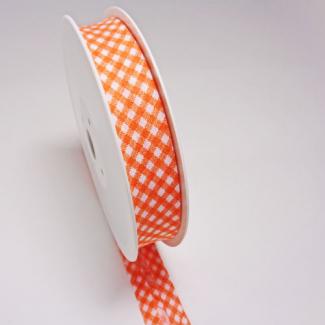 Biais fantaisie Quadrillage Orange 20mm (au mètre)
