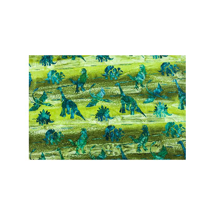 Coton imprimé Dinosaures Verts (par 10cm)
