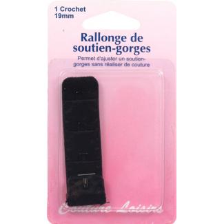 Bra extender 19mm 1 hook - Black