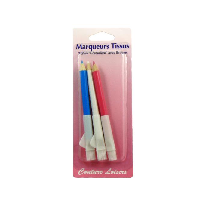 Crayons marqueurs pour tissu avec brosse (3 couleurs)