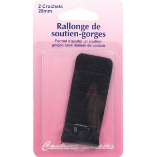 Rallonge Soutien-gorge 28mm 2 crochets - Noir