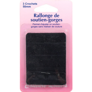 Rallonge Soutien-gorge 50mm 3 crochets - Noir