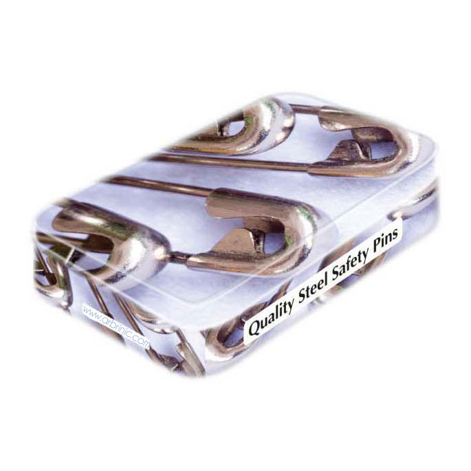 Steel Safety Pins - 4 assorted sizes in collectable tin (x100)