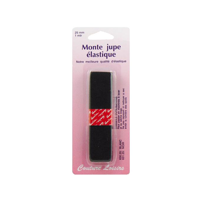 Non roll woven elastic Black 25mm (1m)