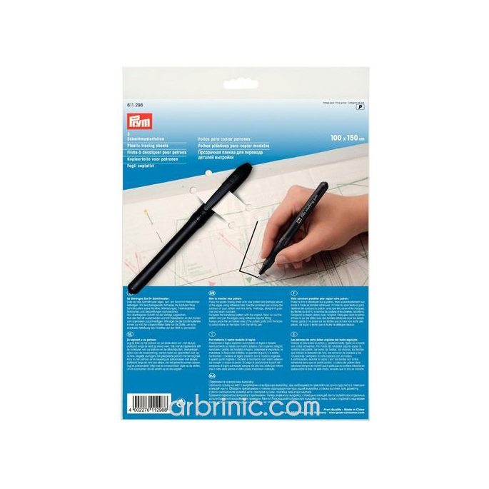Plastic tracing sheets with marking pen PRYM (x3)