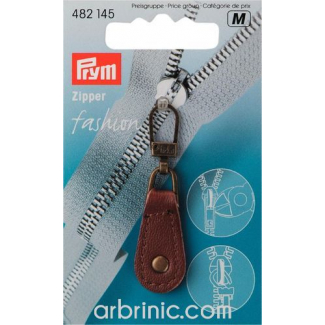 Zip puller Brown Leather PRYM