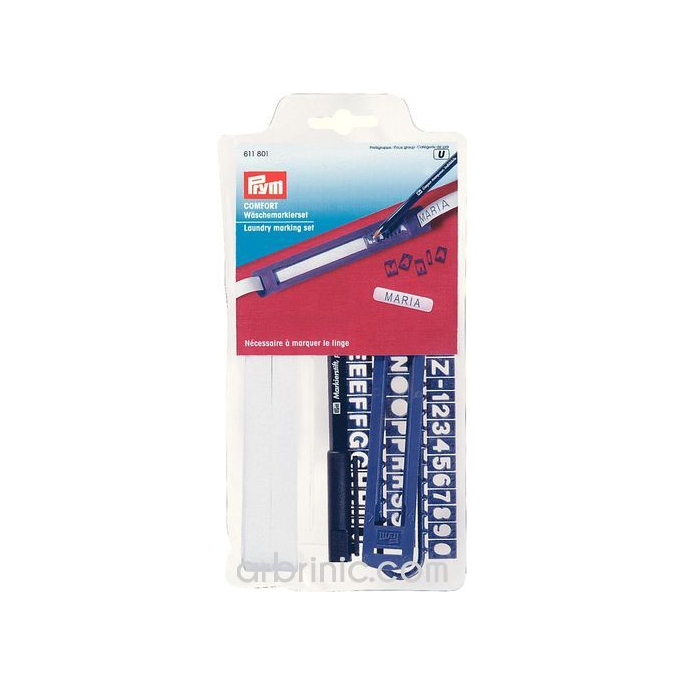 Laundry permanent marking set with pen and tape