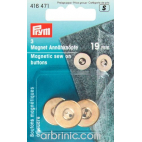 Magnetic sew-on Buttons 19mm Gold (x3)