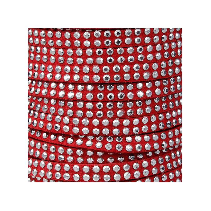 Sued cord 5mm rhinestones Red (1m)