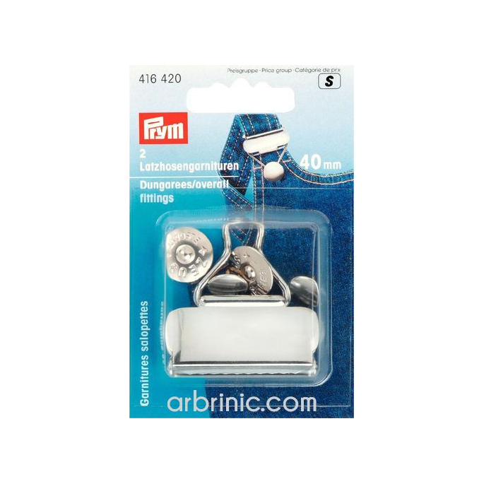 Overall Dungarees fittings PRYM 40mm Silver (x2)