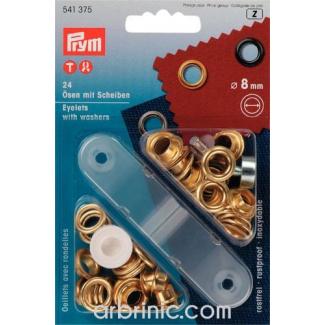 Oeillets 8mm Doré avec outil de pose (x24)