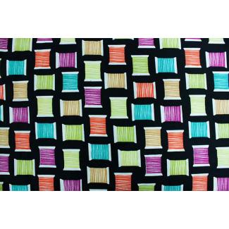 Coton imprimé Cool Spools Noir Michael Miller par 10cm