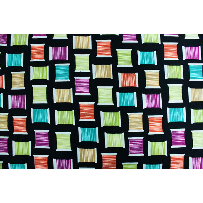Cotton Print Cool Spools Black Michael Miller per 10cm