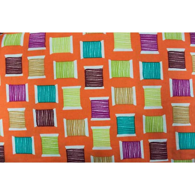 Coton imprimé Cool Spools Orange Michael Miller par 10cm