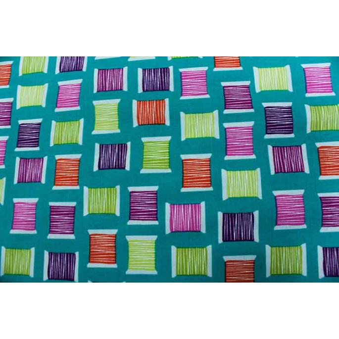 Coton imprimé Cool Spools Turquoise Michael Miller par 10cm