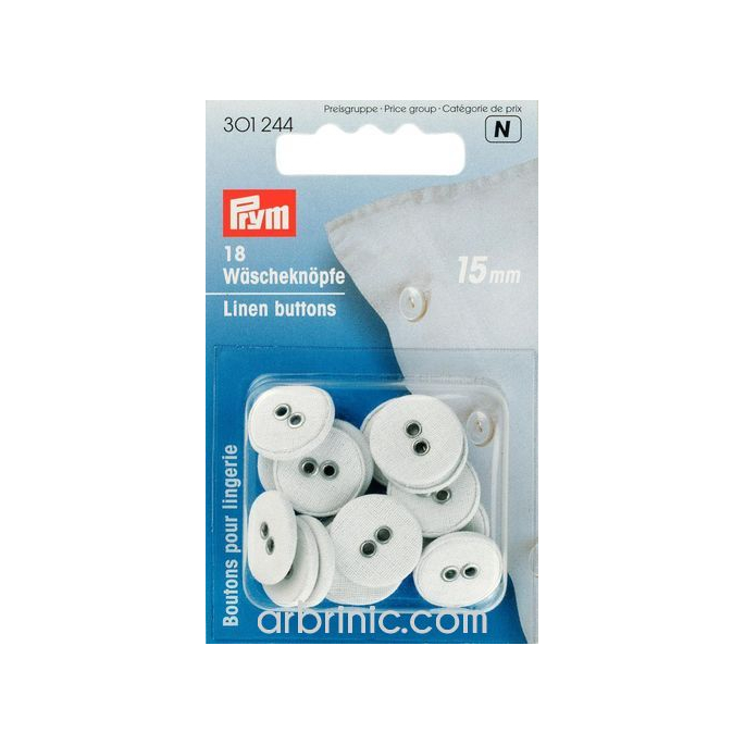 Linen Buttons 15mm - cotton covered (18 pieces)