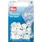 Boutons Chemisier 9/11mm - nacre blanc et noir (20 boutons)