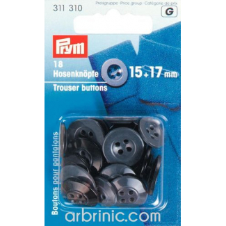 Trousers Buttons 15+17mm - black and grey (18 pieces)