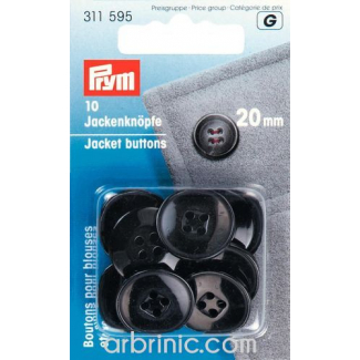Jacket Buttons 20mm - black (10 pieces)