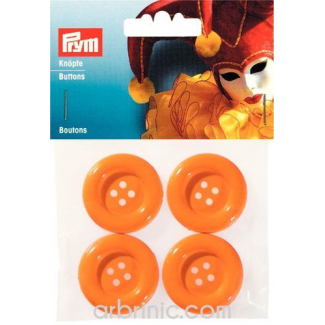 Plastic Buttons 35mm - Orange (4 pieces)