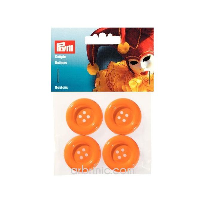Boutons déguisement 35mm - Orange (4 boutons)