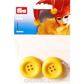 Boutons déguisement 35mm - Jaune (4 boutons)