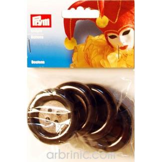 Boutons déguisement 50mm - Noir (4 boutons)