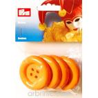 Boutons déguisement 50mm - Orange (4 boutons)