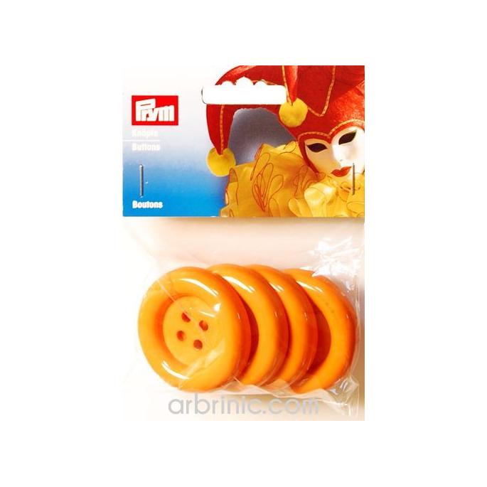 Plastic Buttons 50mm - Orange (4 pieces)