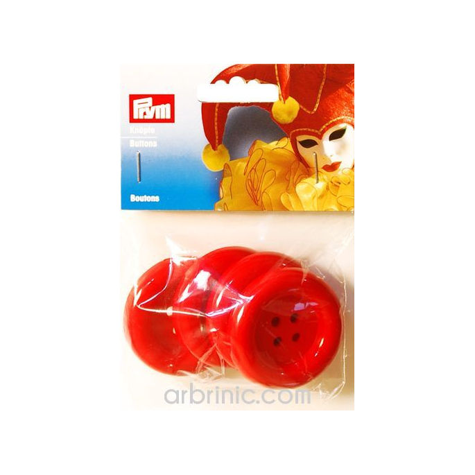 Boutons déguisement 50mm - Rouge (4 boutons)