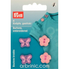Embroidered Buttons - Pink Flower and butterfly (4 pieces)