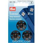 Sew on snap fasteners 21mm round black brass (x3)