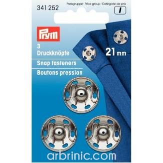 Boutons pression à coudre 21mm ronds laiton argent (x3)