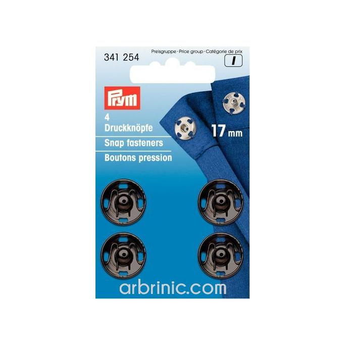 Sew on snap fasteners 17mm round black brass (x4)
