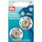 Boutons pression à coudre 30mm ronds laiton argent (x2)