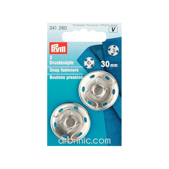 Sew on snap fasteners 30mm round silver brass (x2)