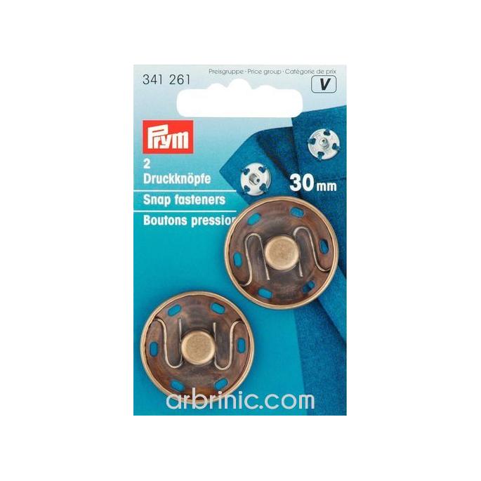 Boutons pression à coudre 30mm ronds laiton noir (x2)