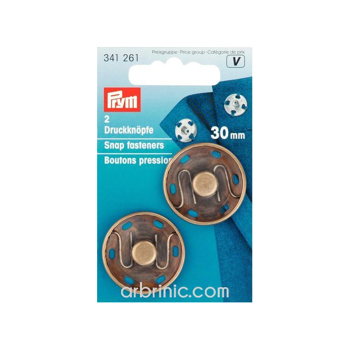 Sew on snap fasteners 30mm round black brass (x2)