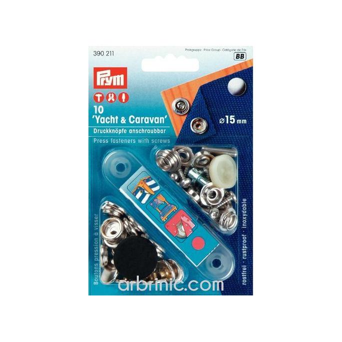 Boutons pression Surfaces Dures 15mm avec outil (x10)