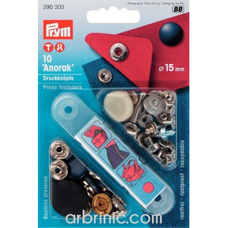 Press fasteners Anorak 15mm Blue with tool (x10)