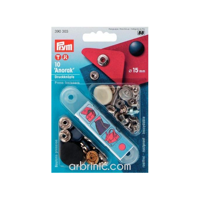 Boutons pression Anorak 15mm Bleu avec outil (x10)