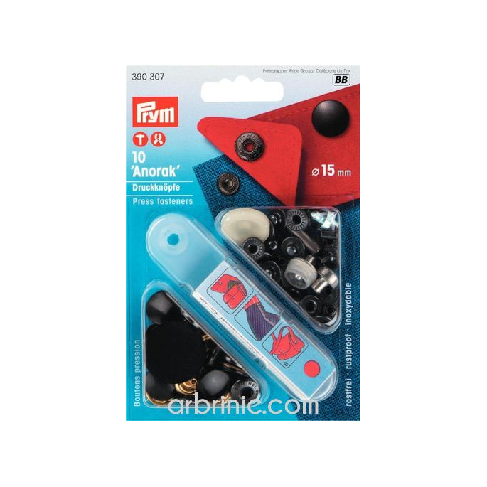 Boutons pression Anorak 15mm Noir avec outil (x10)