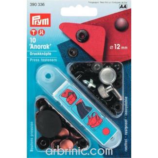 Boutons pression Anorak 12mm Laiton Cuivre avec outil (x10)