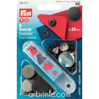 Boutons pression Anorak 20mm Laiton Noir avec outil (x6)