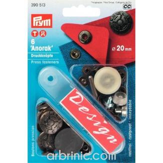 Boutons pression Anorak 20mm Laiton Acier Fusion avec outil (x6)