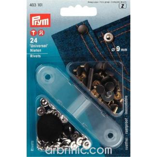 Rivets 9mm argent/acier avec outil (x24)
