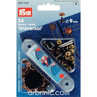 Rivets 9mm acier/noir avec outil (x24)