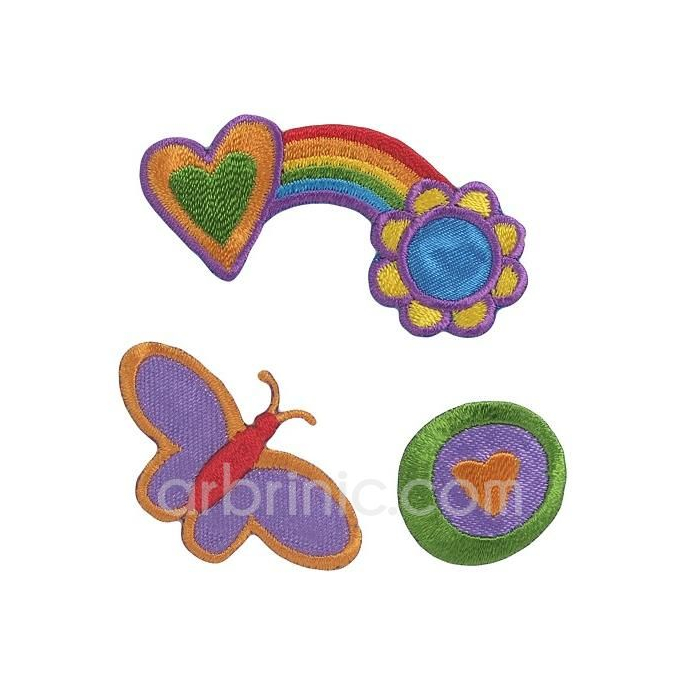 Iron-on Embroidery Patch Flower & Hearts (x4)