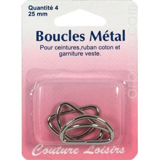 Anneaux métal en D 25mm (x4)