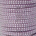Sued cord 5mm rhinestones Lavendar (1m)